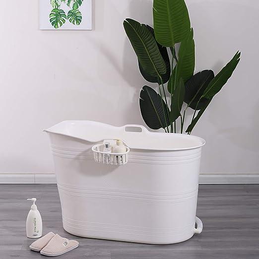 Schwänlein® Mobile Badewanne, Ideal für das kleines Badezimmer, 99x52x65cm,  Stylisch und Stimmungsvoll (Weiß)