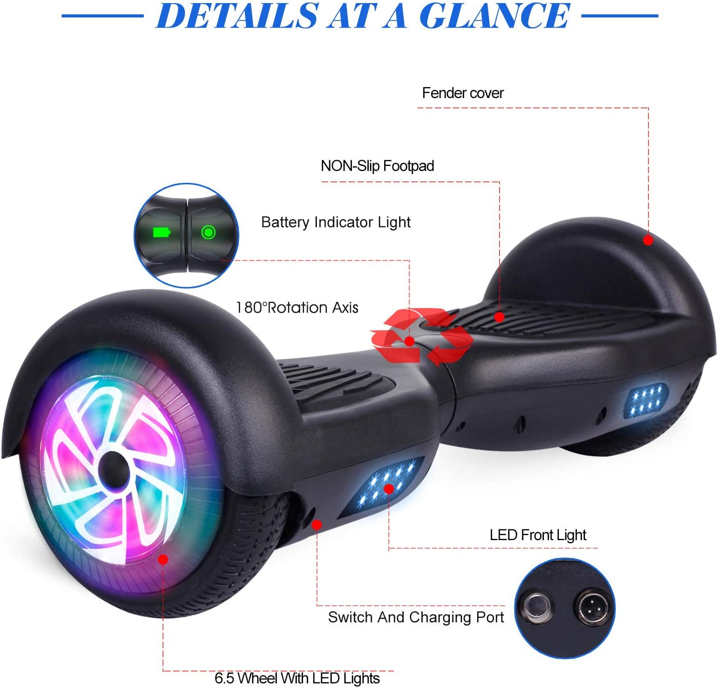 FLYING-ANT Hoverboard, 6.5 Inch Self Balancing Hoverboards black - 1