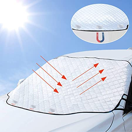 MIAOJIE Voiture Pare Brise Parapluie Pare Soleil R/étractable Anti-UV De Pare-Brise Avant Int/érieur Pare-Soleil Protecteur Automatique Pliable pour Camion SUV De Voiture 125cm Size 125X65cm ,65
