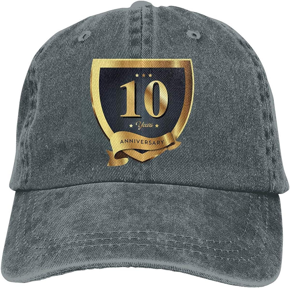 10th Anniversary Baseball Cap Unisex Adjustable Vintage Washed Denim USA