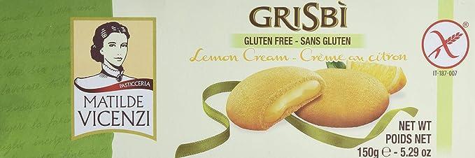 Matilde Vicenzi Grisbi Dulce con crema de limón, 150 gr, Pack de 3 (