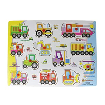 Tootpado Vehicle Board for Kids Learning Educational Boards Tray with Knobs Wooden Toys -(1TNG587)