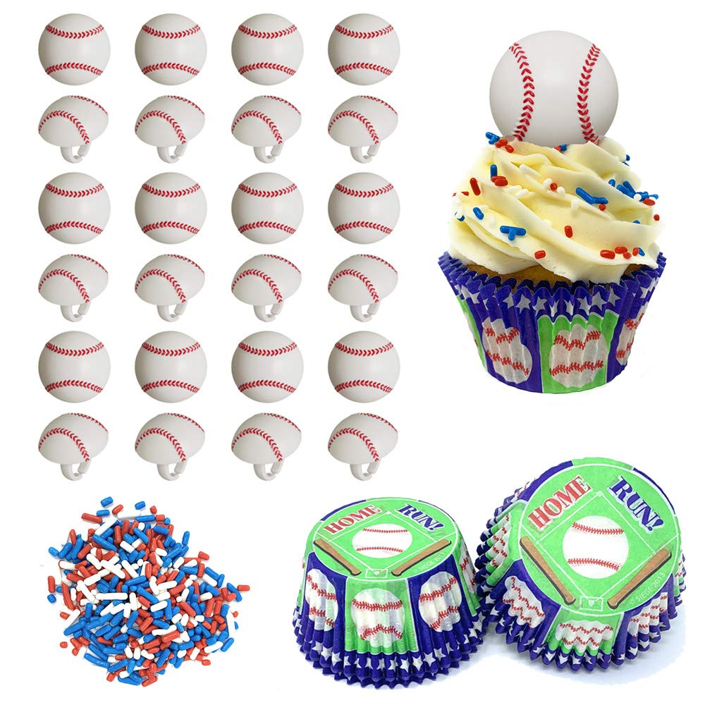 Baseball Cupcake Decorating Kit - Set Includes 24 Baseball Cupcake Topper Rings, Baking Liners, Red White and Blue Sprinkles - For Birthday Parties and Sports Team Celebrations by SprinkleTime Cupcakes