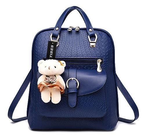 TIBES Bolsa Mujer Mini mochila impermeable Mochila de cuero Mochila de estudiante Azul zafiro Azul zafiro: Amazon.es: Zapatos y complementos