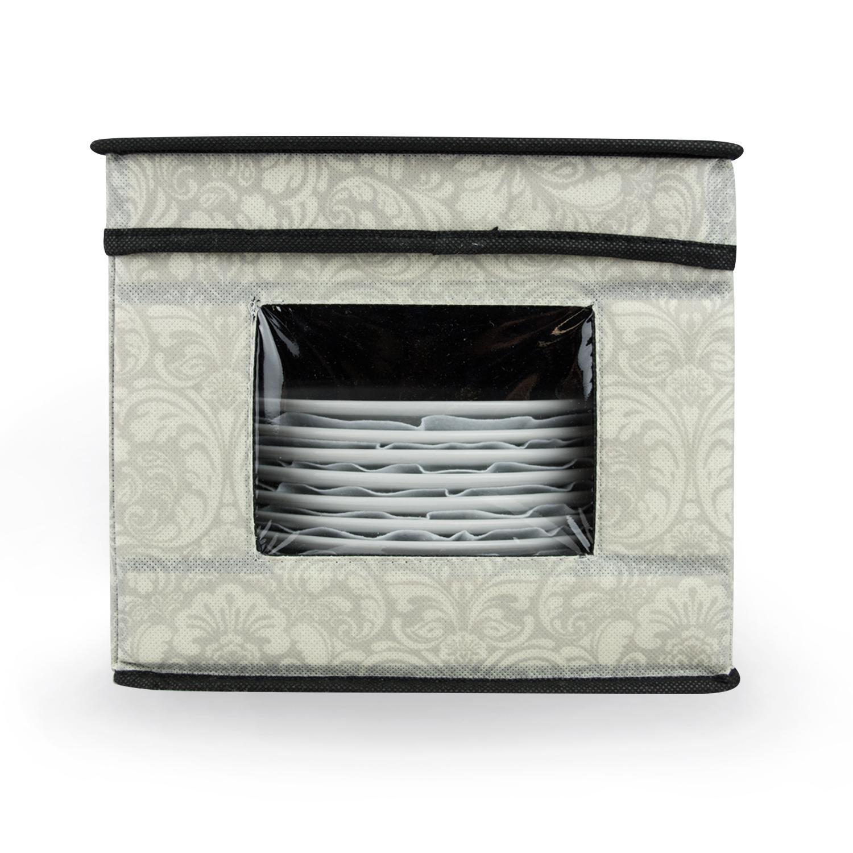 9'' Cool Grey Damask Pattern Dish and Dessert Plate Storage Bin with Window