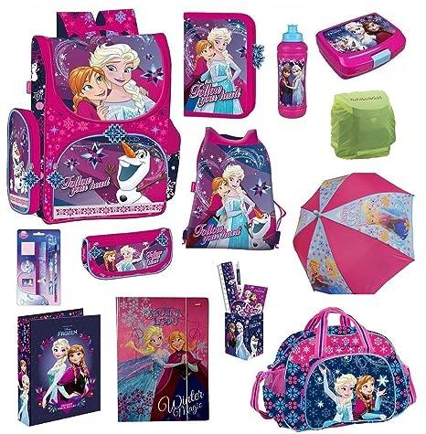Disney die Eiskönigin Schulranzen-Set 23-TLG. Sporttasche Federmappe Regenschutz Frozen