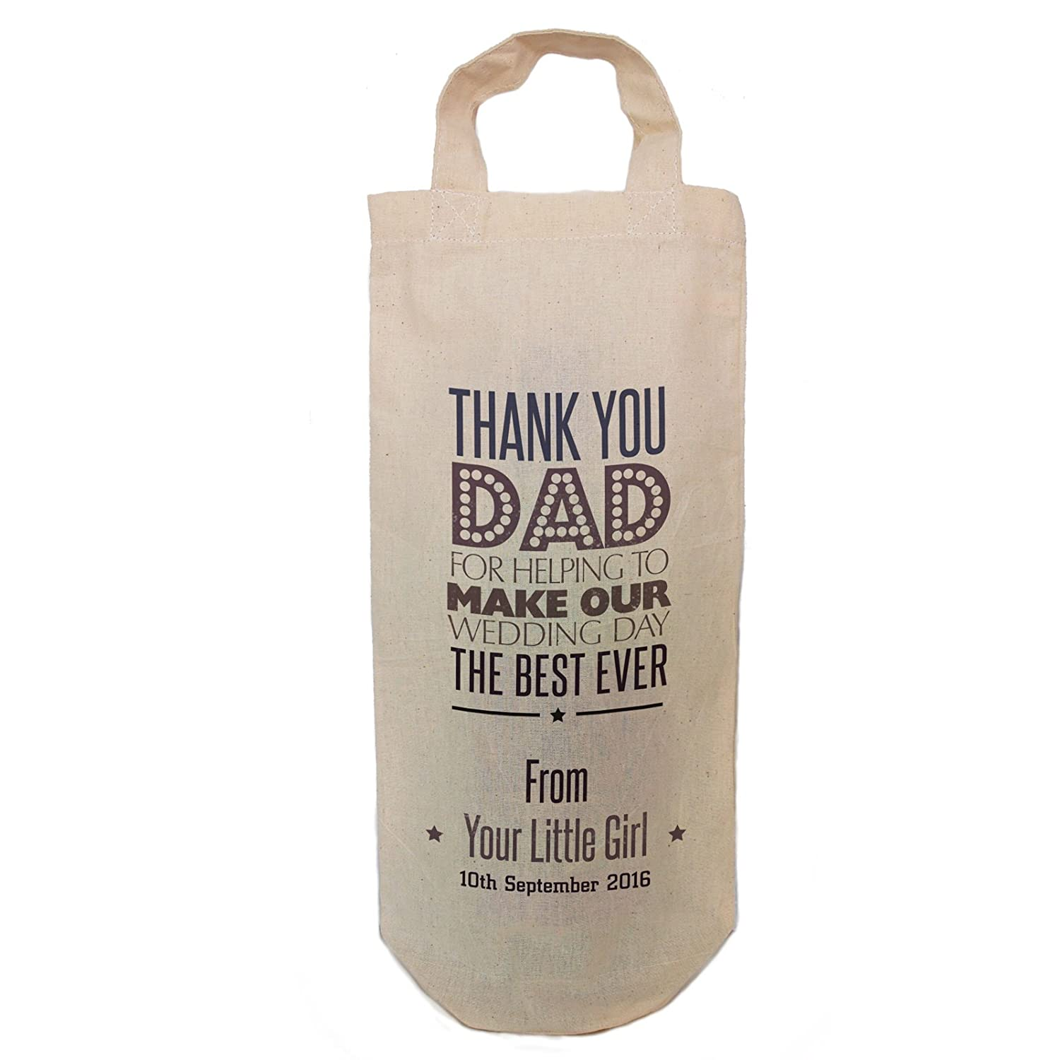 Personalised Wedding Gift Favour Bottle Bag Thank You Dad Best Man
