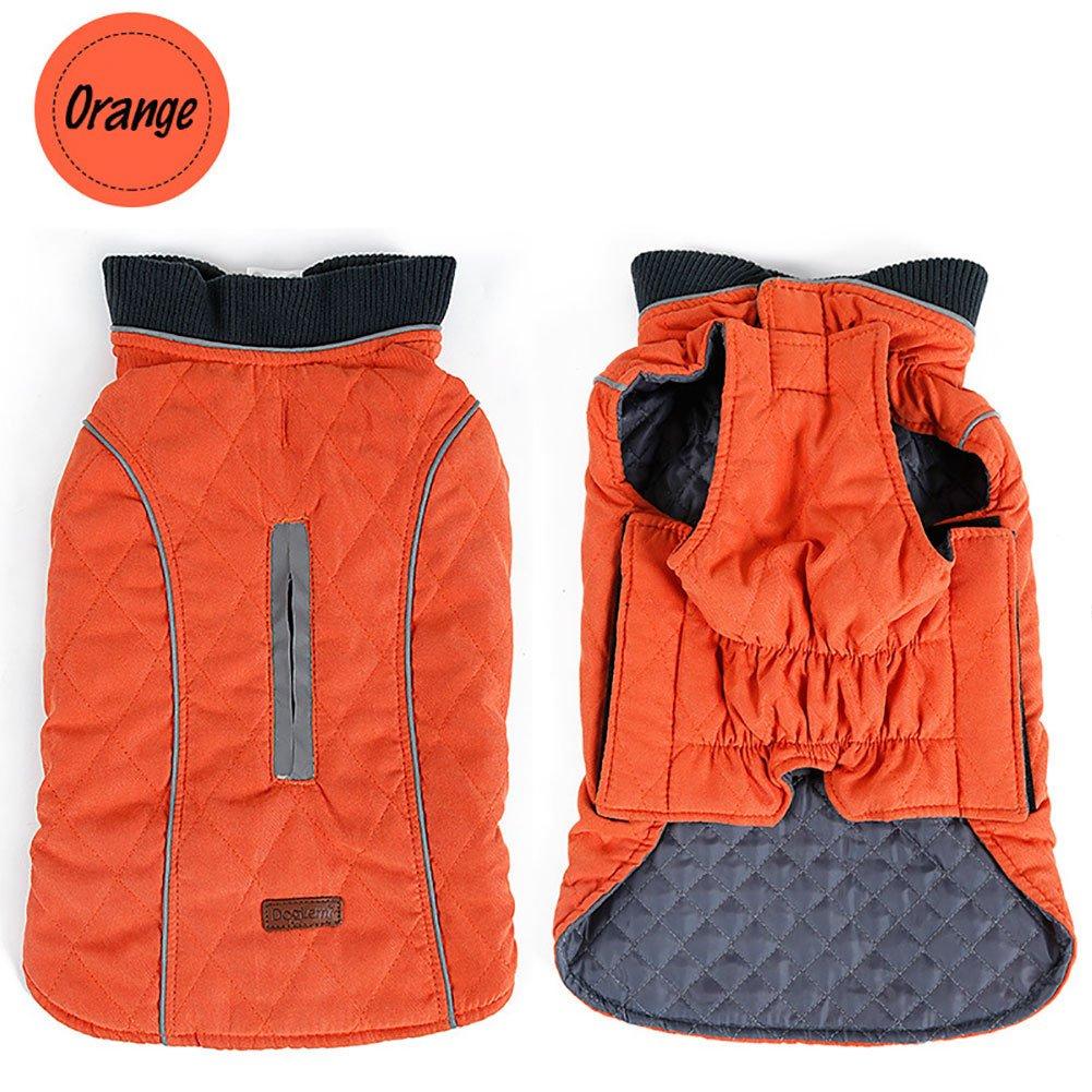 Sensfun Vintage Pet Costume for Dogs Waterproof Windproof Dog Vest for Cold Weather Orange Medium