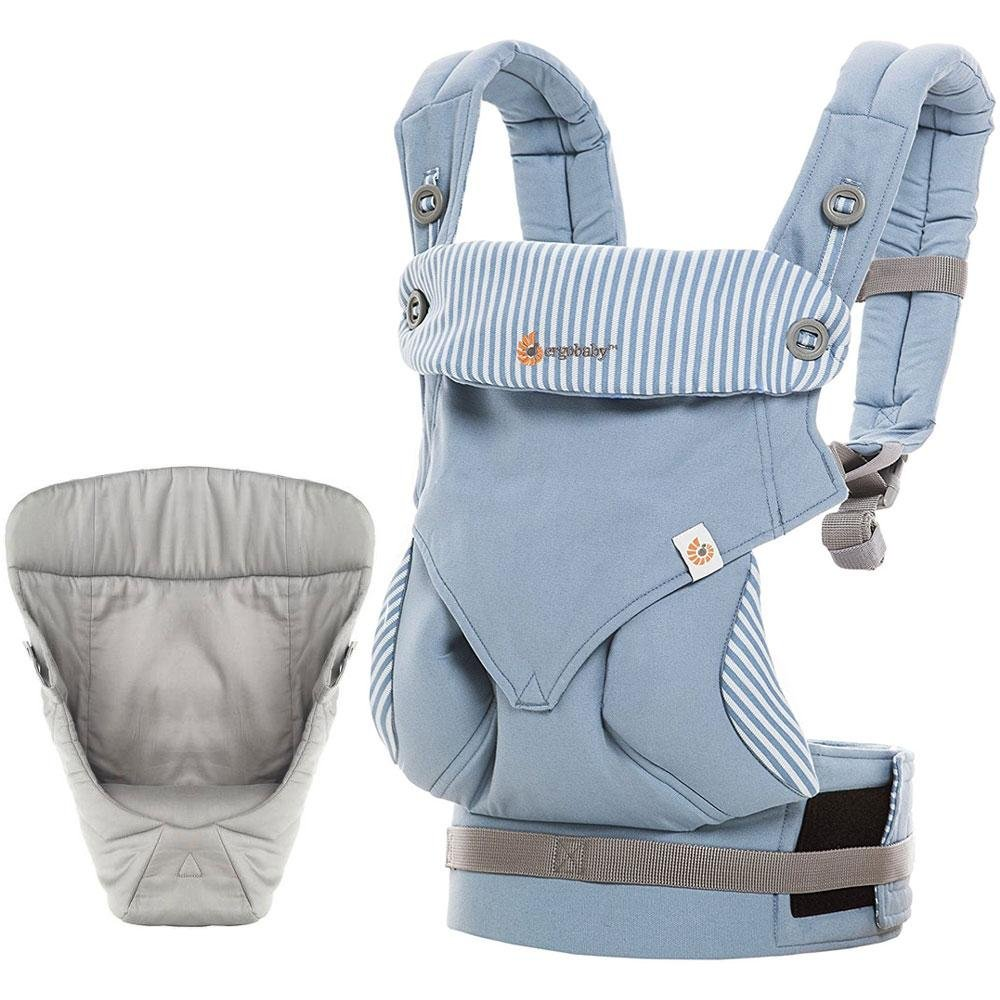 Ergobaby Bundle - 2 Items: Azure Blue All Carry Position 360 Baby Carrier and Easy Snug Infant Insert Grey