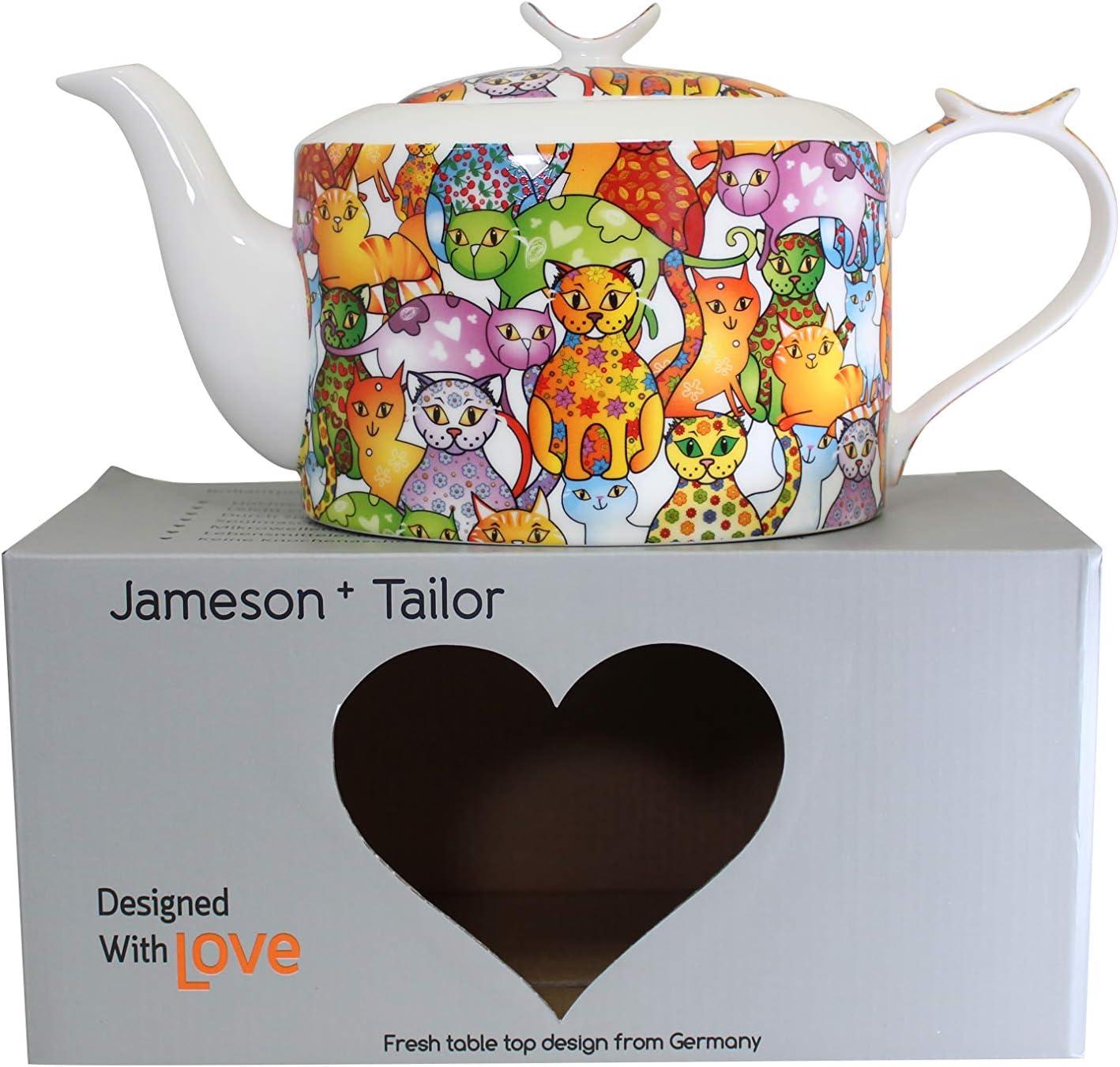 Tetera Moderna y Ovalada de Porcelana Brillante Modelo /« Gatos Coloridos /» Jameson /& Tailor Resistente a los lavajillas y microondas Multicolor Capacidad 1300ml