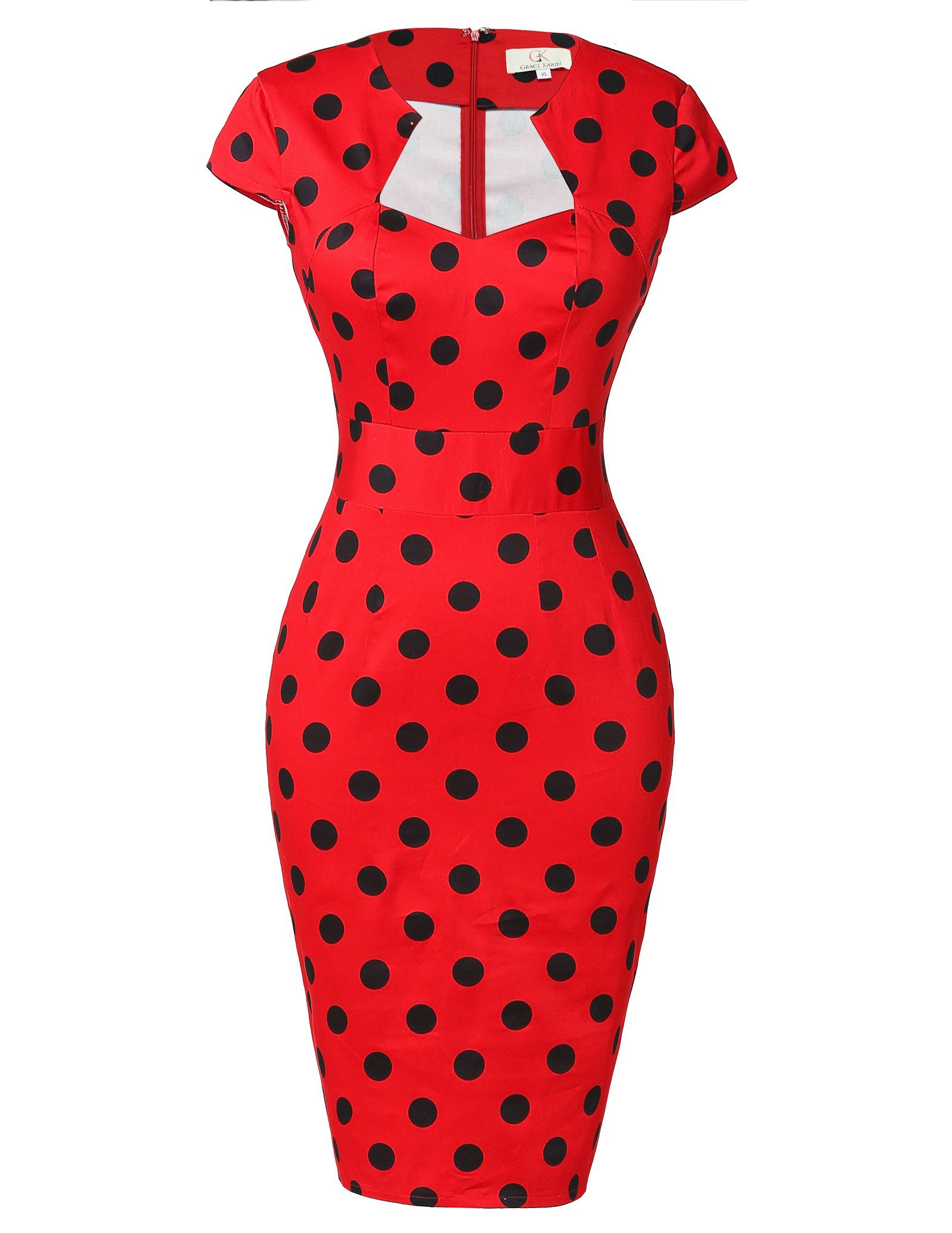 Womens Cap Sleeve Polka Dot Vintage Dress for Wedding Party Red M CL7597-2