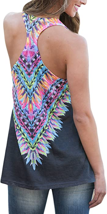 3bdbda6e9f854 ... Elapsy Womens Tribal Print Sleeveless Loose Tunic Tank Tops Casual  Blouses Vest T Shirt ...