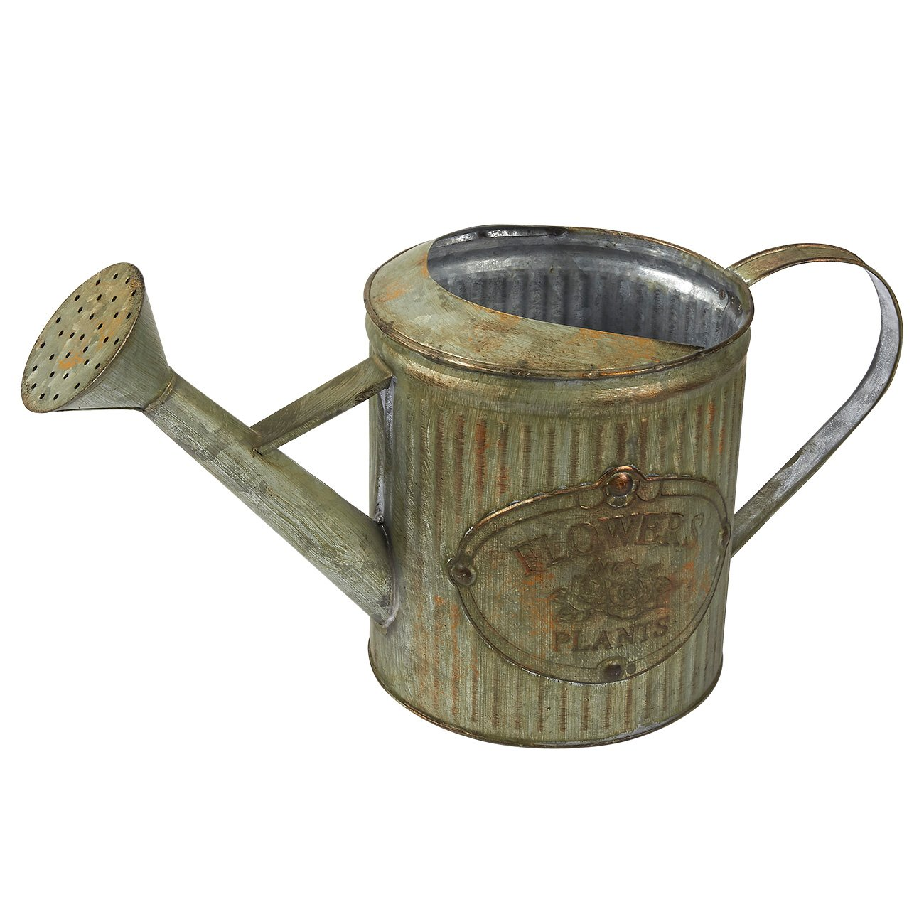 Juvale Watering Can - Rustic Iron Galvanized Water Jug with Handle, Antique Style for Home and Garden, 14.75 x 8.25 x 6.25 Inches