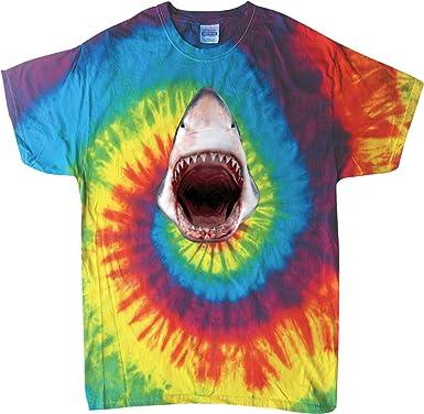 1262b95bcf58 Amazon.com  Buy Cool Shirts Mens Cool Shirt 3D Shark Tie Dye T-Shirt ...