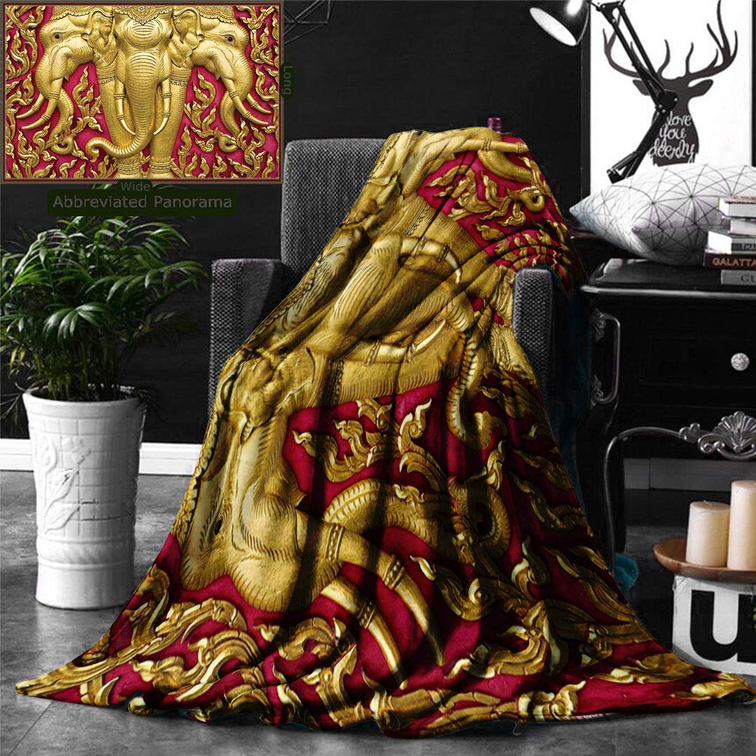 Unique Custom Double Sides Print Flannel Blankets Elephant Decor Elephant Carved Gold Paint On Door Thai Temple Spirituality Statue Super Soft Blanketry for Bed Couch, Throw Blanket 70 x 50 Inches