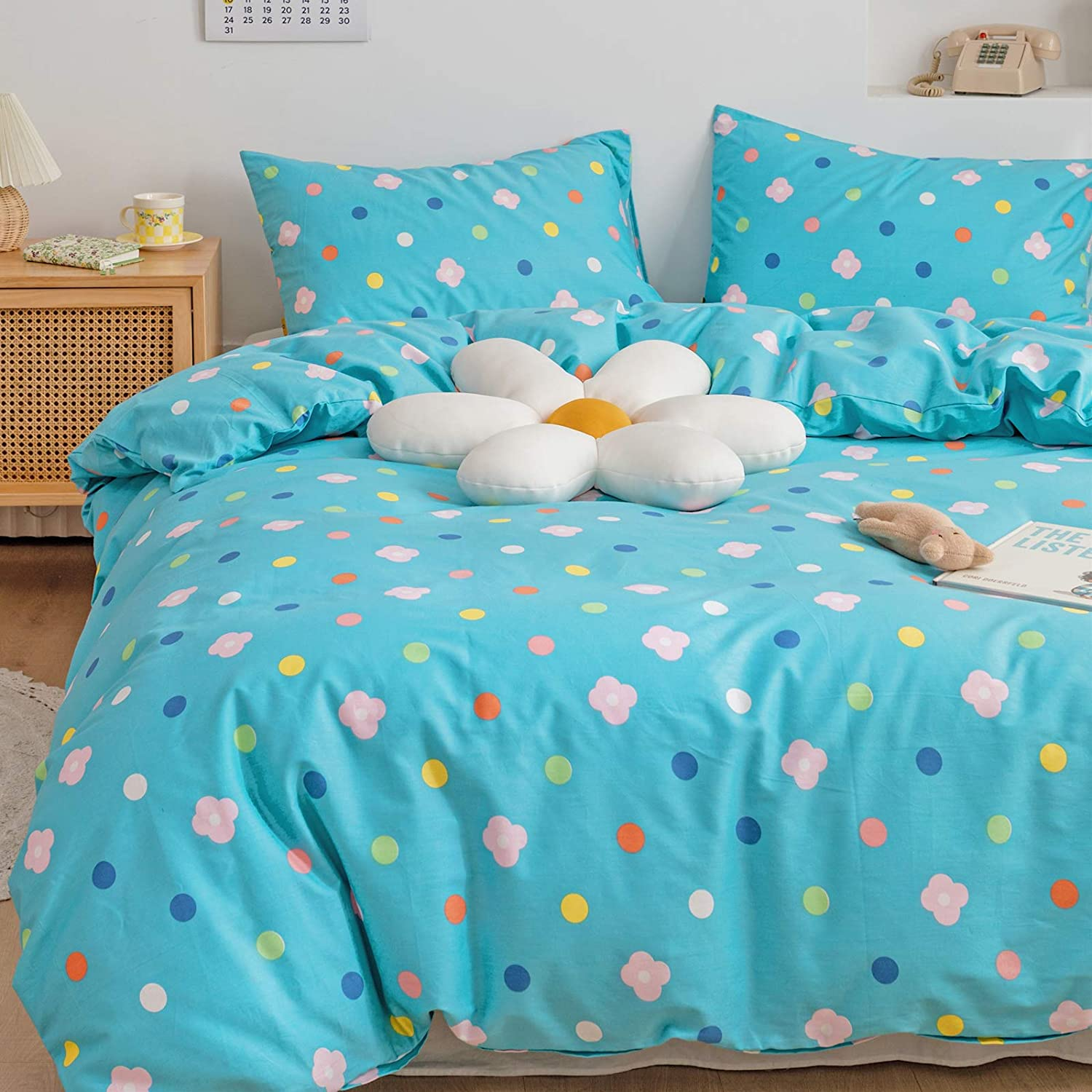 BlueBlue Polka Dot Duvet Cover Set Queen 100% Cotton Bedding for Kids Boys Girls Teens Blue White Red Yellow Floral on Teal 1 Dots Comforter Cover Full with Zipper Ties 2 Pillowcases Queen