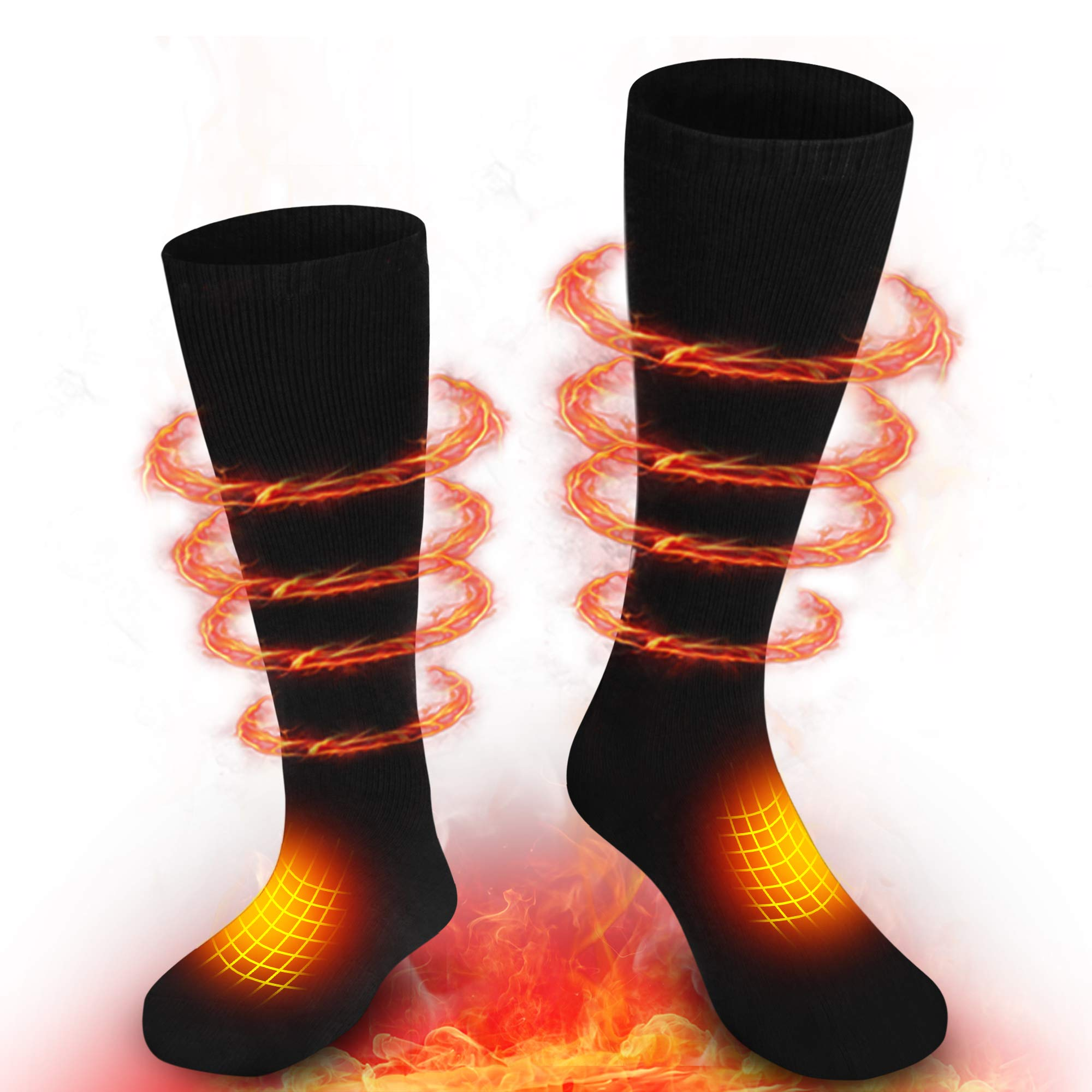GLOBAL VASION Electric Heated Socks with Rechargeable Battery for Chronically Cold Feet (BlackM) by GLOBAL VASION