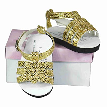 """c1b87187c0b9 Image Unavailable. Image not available for. Color: The Queen's Treasures  Gold Strappy Sandals 18"""" Doll Shoes, Clothing Accessories Fits American  Girl"""