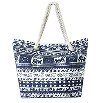 e006d2861de9 Lizimandu Beach Bag Canvas Tote Bag With Inner Zipper Pocket - Tote with  Rope Handles(