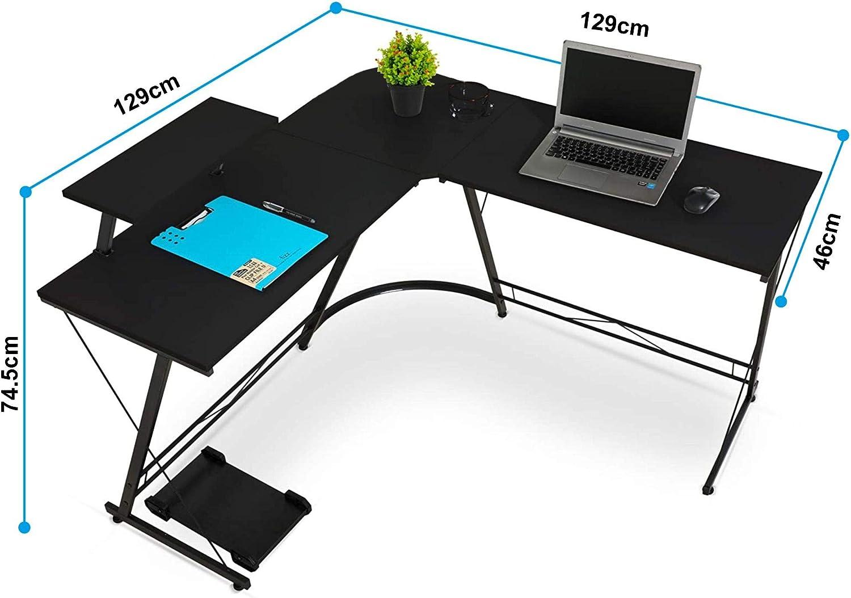 L-Shaped Corner PC Computer Desk Large L Shape Wood Steel Metal Laptop Study Corner Workstation Gaming Desk Table for Home and Office Black