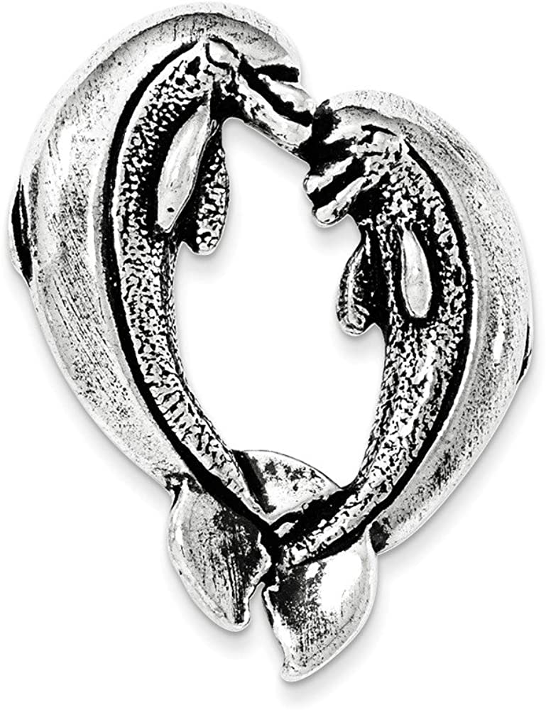 .925 Sterling Silver Antiqued Nose to Nose Dolphin Heart Chain Slide Charm Pendant