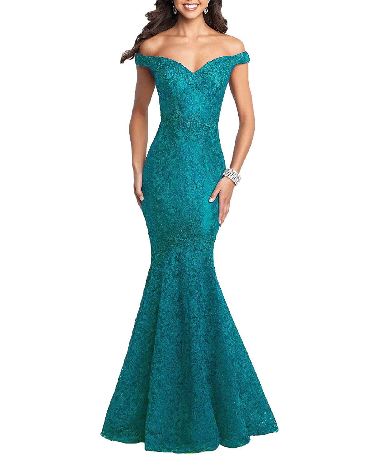 Dark Turquoise Wanshaqin Sexy Off The Shoulder Mermaid Prom Formal Dresses Bridesmaid Gown Evening Cocktail Dress for Events Party