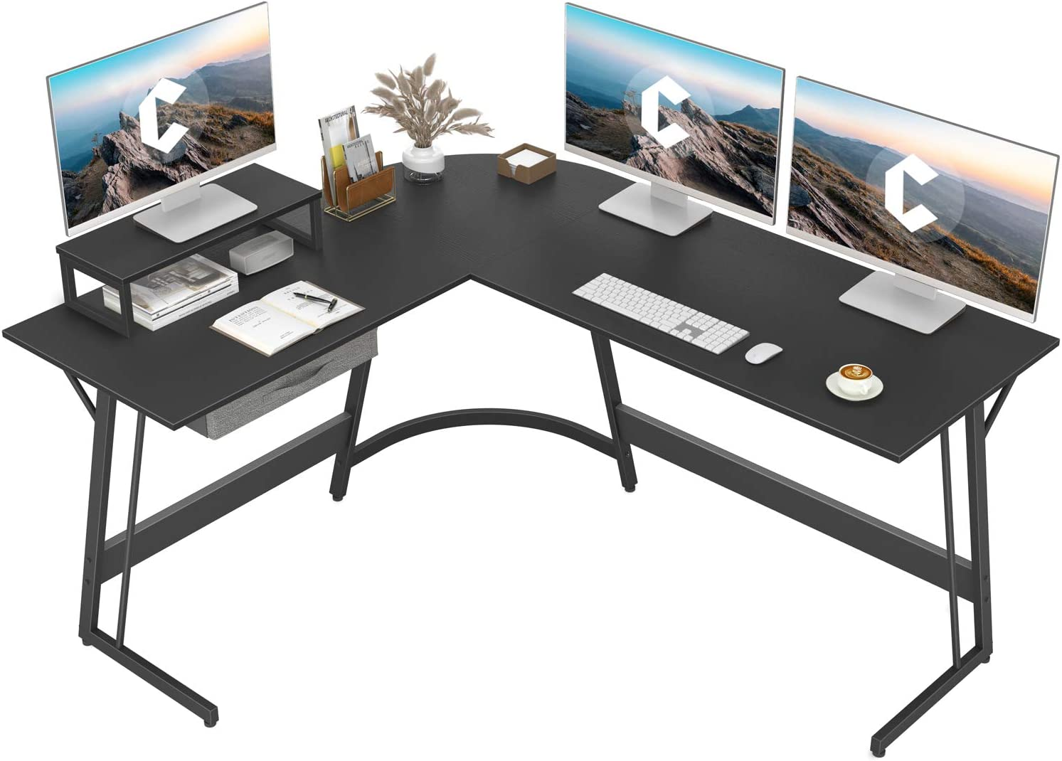 """CubiCubi Modern L-Shaped Desk Computer Corner Desk, 59.1"""" Home Office Writing Study Workstation with Small Table, Space Saving, Easy to Assemble"""