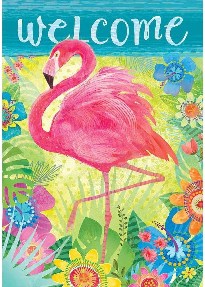Custom Decor Flamingo Floral Welcome - Standard Size, Decorative Double Sided, Licensed and Copyrighted Flag - Printed in The USA Inc. - 28 Inch X 40 Inch Approx. Size