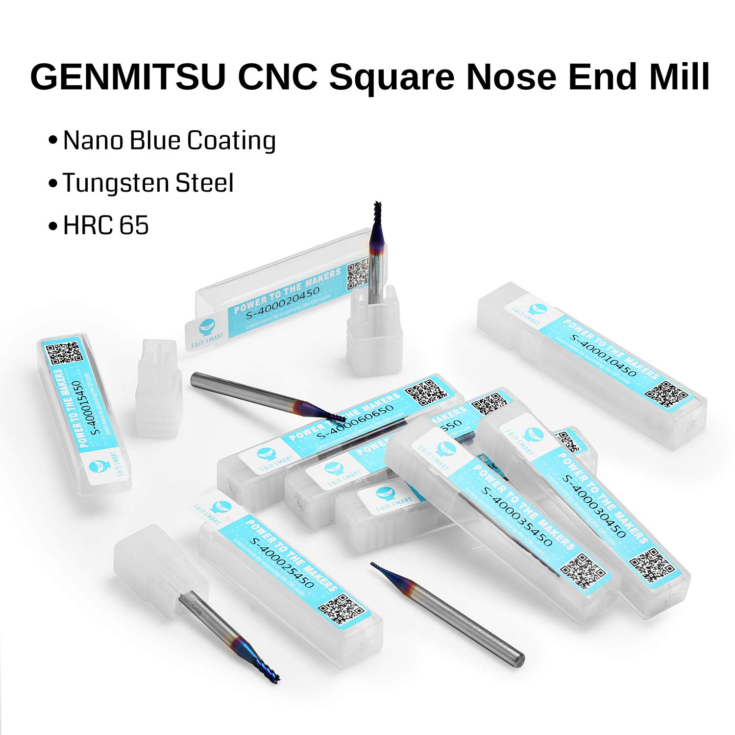 Aluminum 4mm Shank Soft Metal 1.0mm Cut Dia Plastic Acrylic ideal for Wood Solid Carbide Nano Blue Coat Tungsten Steel Genmitsu CNC Router Bits Square End Mill 4 Flutes Stainless Steel