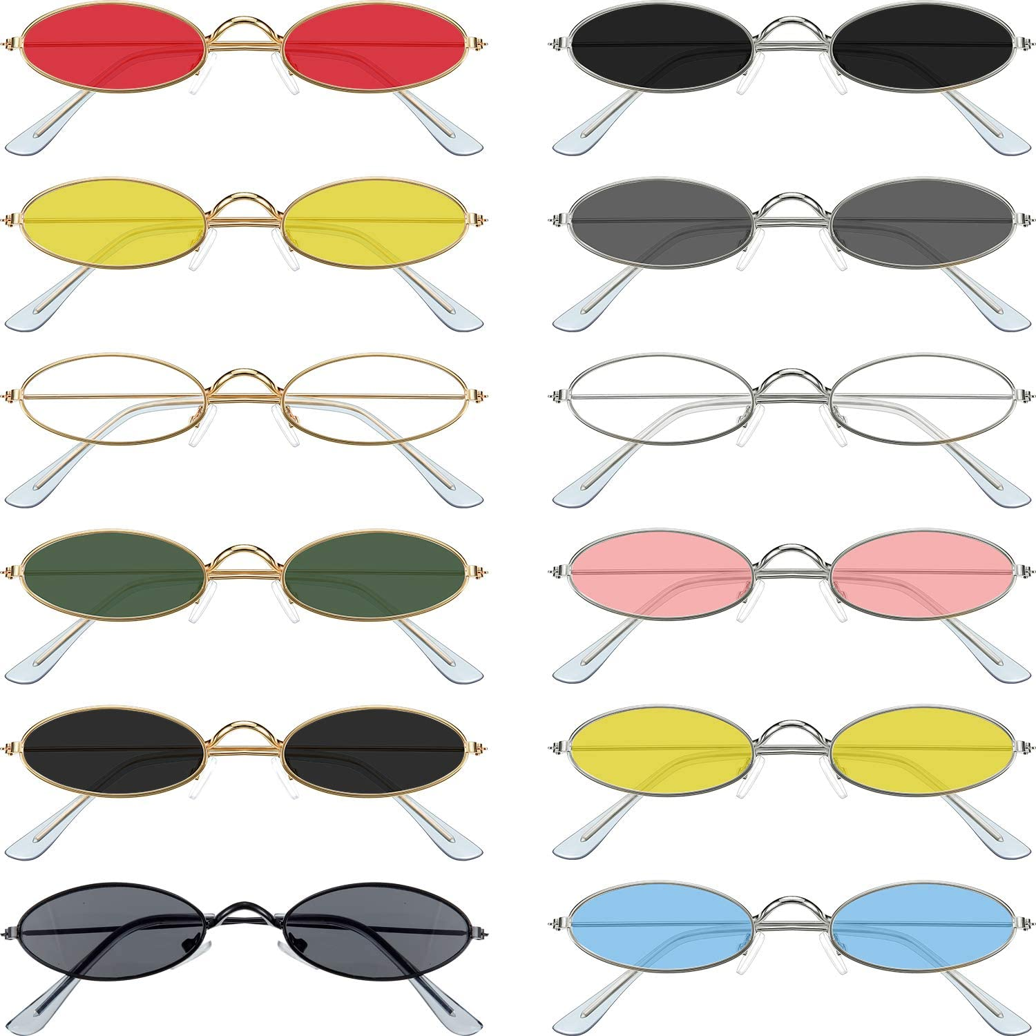 12 Pieces Vintage Oval Sunglasses Slender Metal Frame Oval Sunglasses Candy Colors for Man and Woman