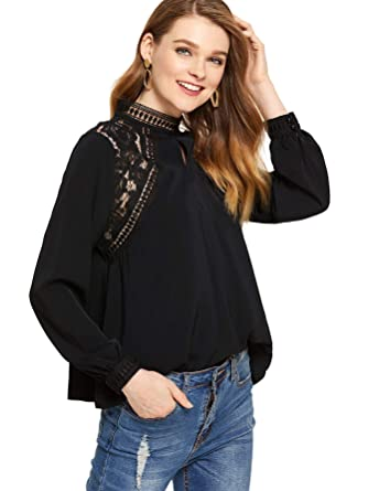 bc7e806c127f SheIn Women's Casual Long Sleeve Keyhole Contrast Lace Tops Blouses at  Amazon Women's Clothing store: