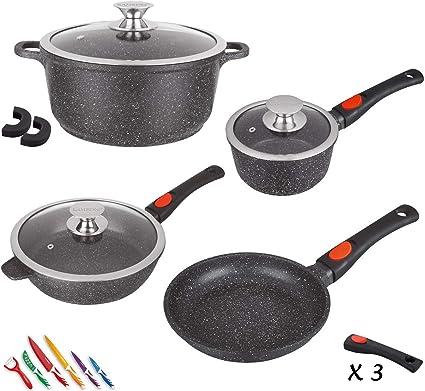 kamberg 0008166 set lot batterie de cuisine 10 pieces fonte d aluminium revetement pierre tous feux dont induction manche amovible sans