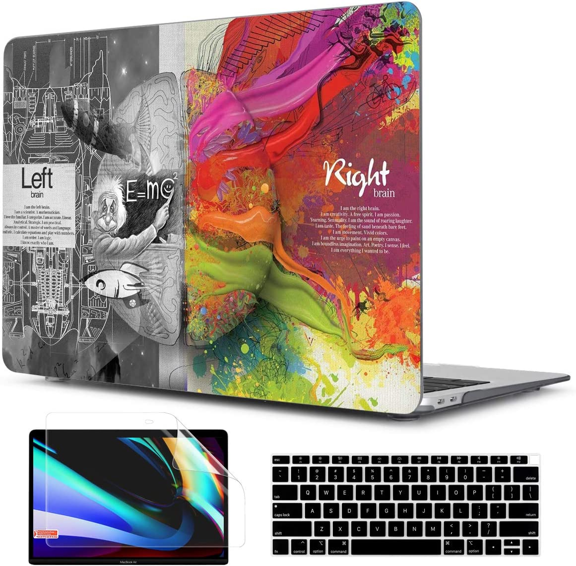 TwoL Hard Plastic Case Silicone Keyboard Skin and Screen Protector for MacBook Air 13 inch A1932 A2179 Release 2018-2020 with Retina Display/Touch ID Creative Brain