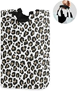 ALAZA Large Laundry Hamper Basket Gray Leopard Print Animal Cheetah Laundry Bag Collapsible Oxford Cloth Stylish Home Storage Bin with Handles, 22.7 Inch