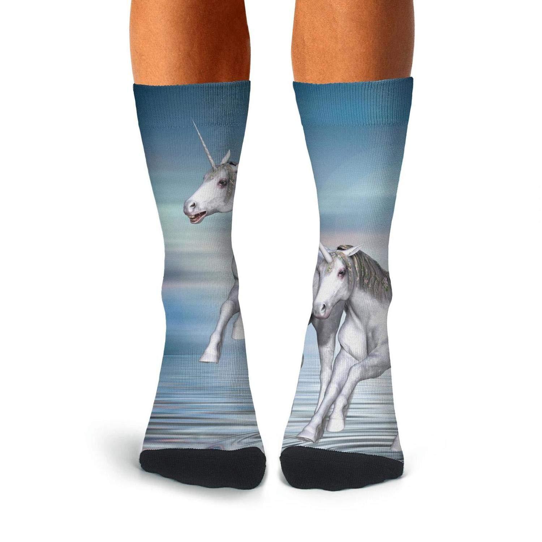 Over The Calf Socks For Men Athletic Compression Stockings Men KCOSSH Unicorn Horses Mens Socks Crew Novelty