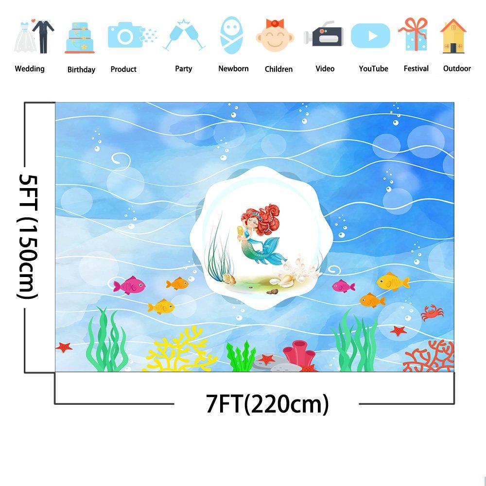 Mehofoto - Fondo de Sirena de 7 x 1,5 m bajo el Mar para Acuario de Sirena o pecera, Fondo de Fotografía para la Vida Marina, sin Arrugas, Accesorios de ...