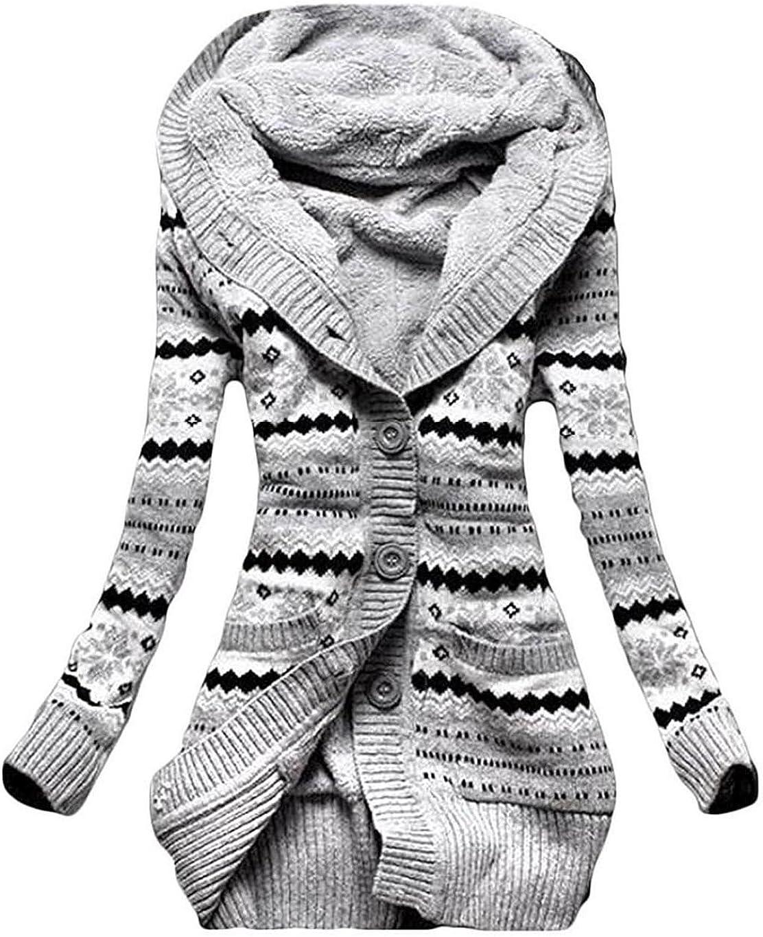 JONLILEI Donna Cappuccio Cardigan in Maglia Autunno Manica Lunga Pulsante Cappotto Maglieria Sottile Lunghe Tasca Coat Kimono Top Hoodie Coat