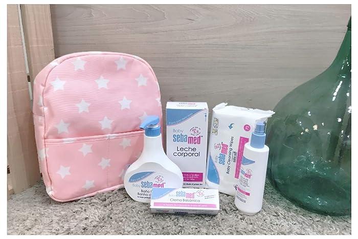 Canastilla premium Sebamed Baby + mochila estrellas rosa