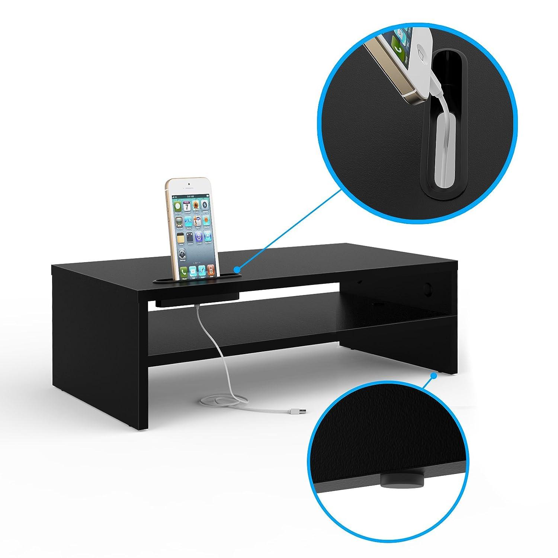 1home Wooden Desktop Printer//Fax Stands Two-tier Workspace Storage Machine Organisers