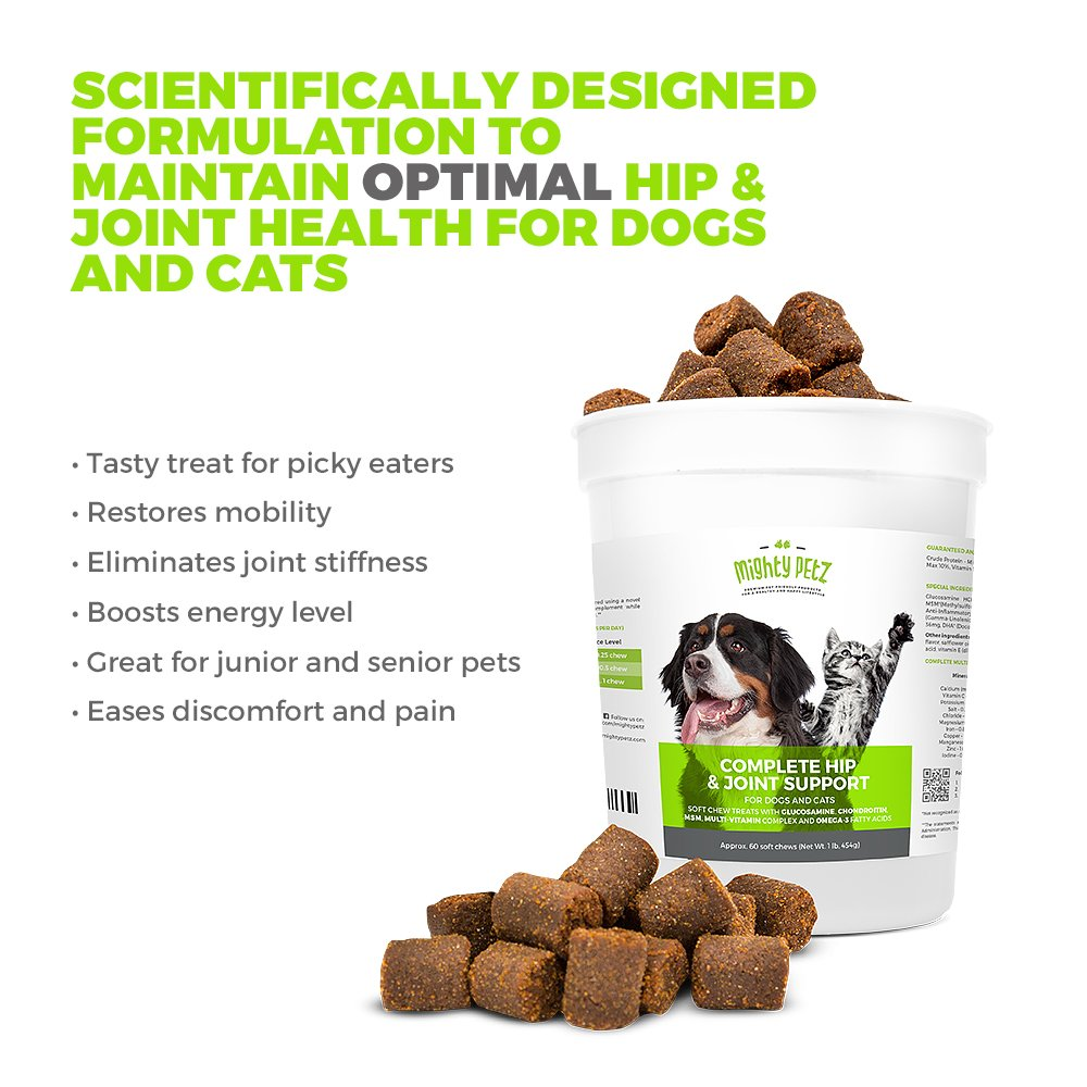 Mighty Petz 5in1 Glucosamine Chews for Dogs and Cats, Bonus eBook! Restores Mobility, Prevents Joint Stiffness! Hip & Joint Support Chondroitin MSM & Vitamin Treats, No Limping & Pain, Boost Energy! by Mighty Petz (Image #7)