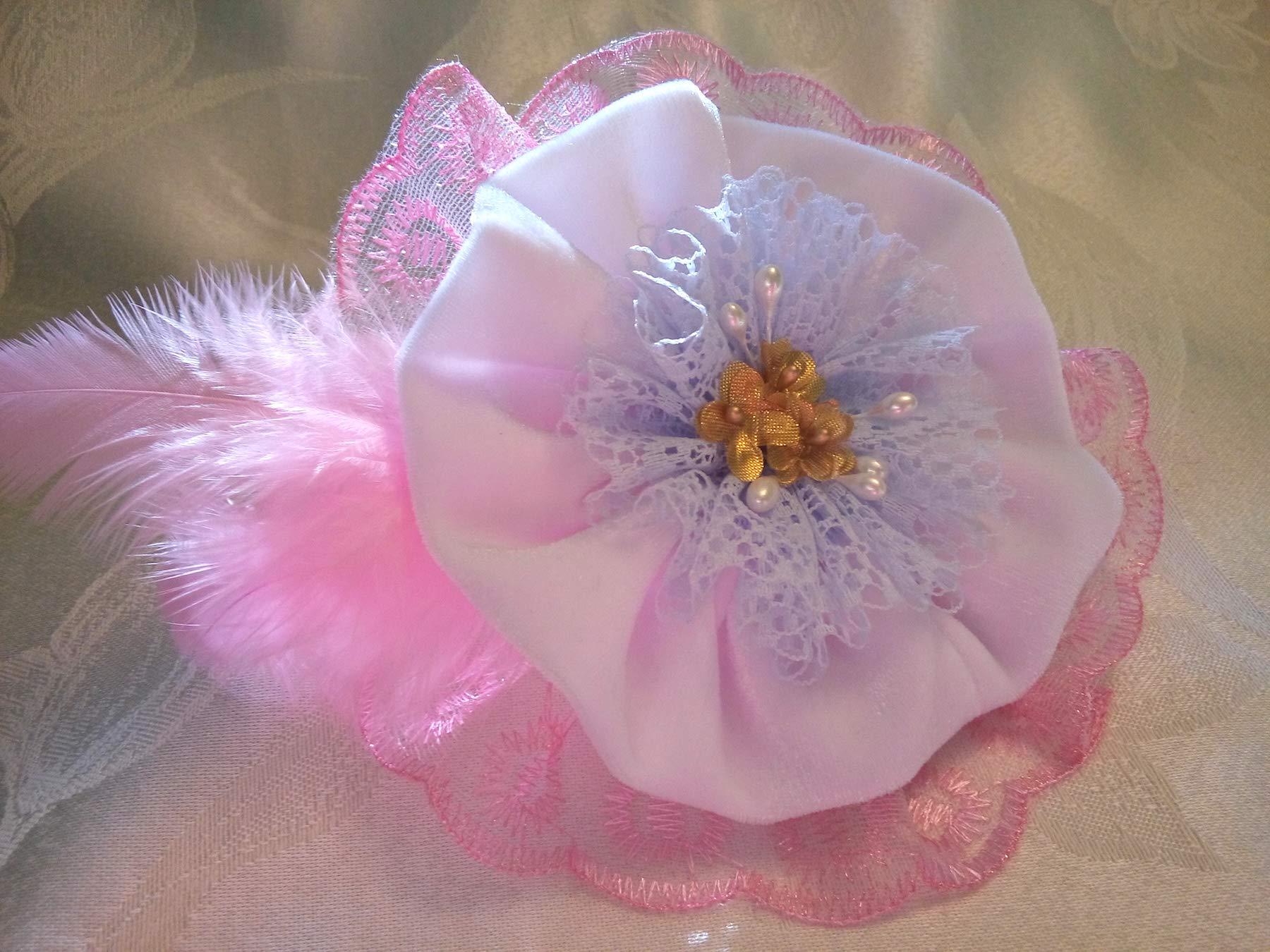 Light Pink White Velvet Lace Flower Large Brooch 6'' Bridal Sash Belt Bag