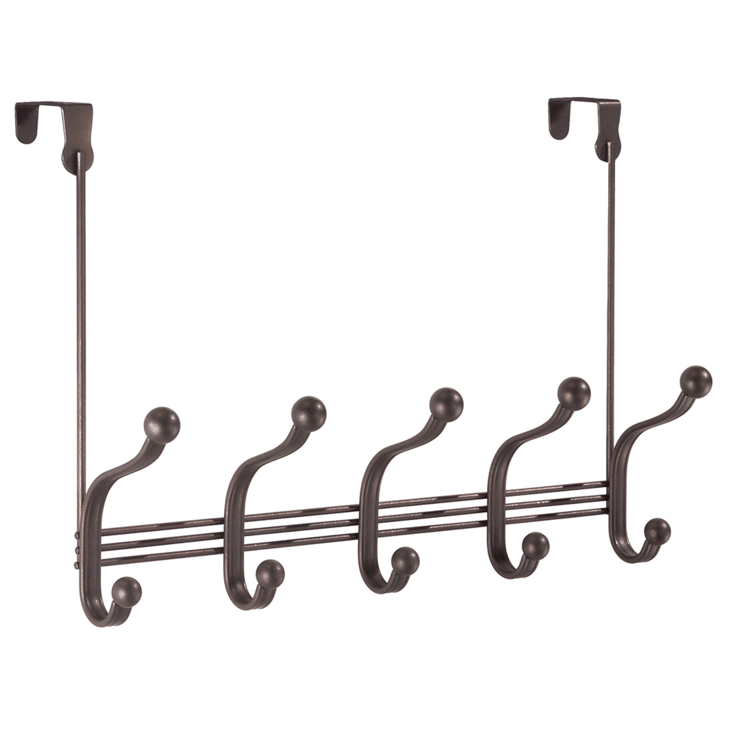 InterDesign York Lyra Over Door Storage Rack – Organizer Hooks Coats, Hats, Robes, Clothes Towels – 5 Dual Hooks, Bronze