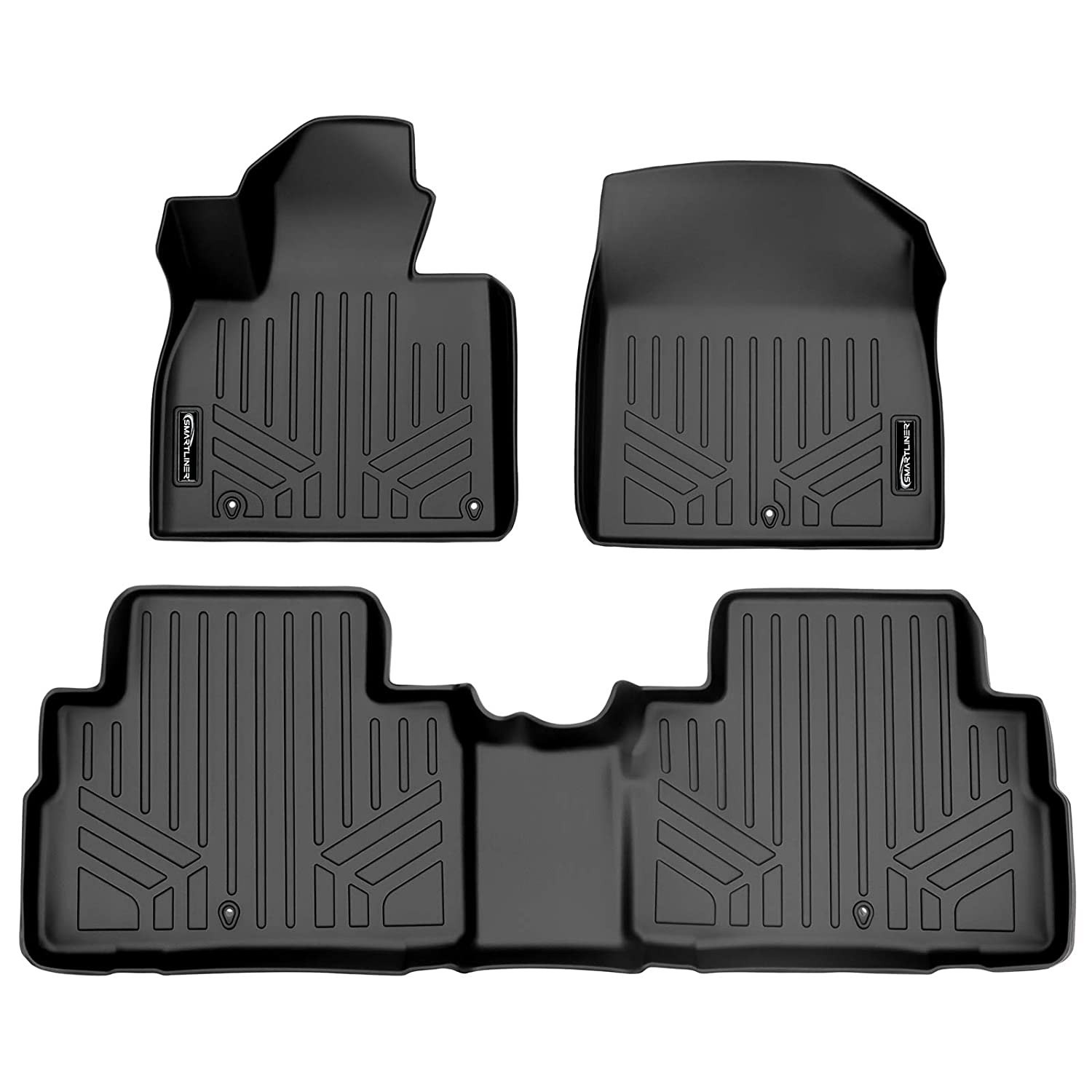 SMARTLINER Custom Fit Floor Mats 2 Row Liner Set Black for 2020 Kia Telluride with 2nd Row Bench Seat