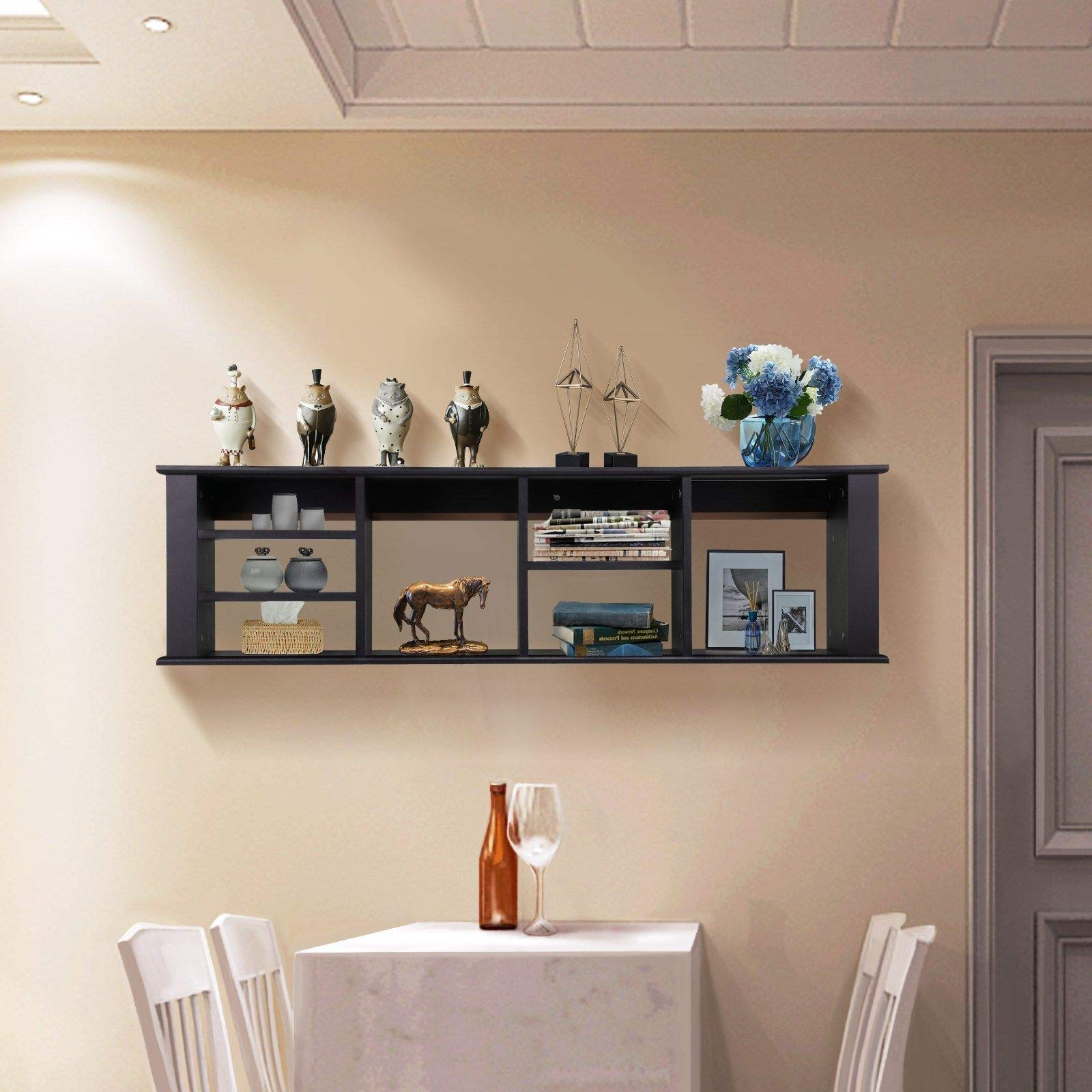 LOVELABEL Home Décor Wall Mounted Desk Hutch Floating Storage Shelf Hanging Cabinet Organizer