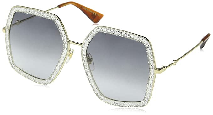 a82b102bfdd Amazon.com  Sunglasses Gucci GG 0106 S- 006 SILVER   GREY GOLD  Clothing