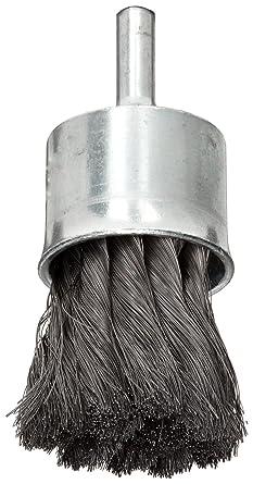 Solid End 1//4 Shank 1//2 Diameter Crimped Wire Round Shank Pack of 1 25000 rpm Steel 0.014 Wire Diameter Weiler Wire End Brush