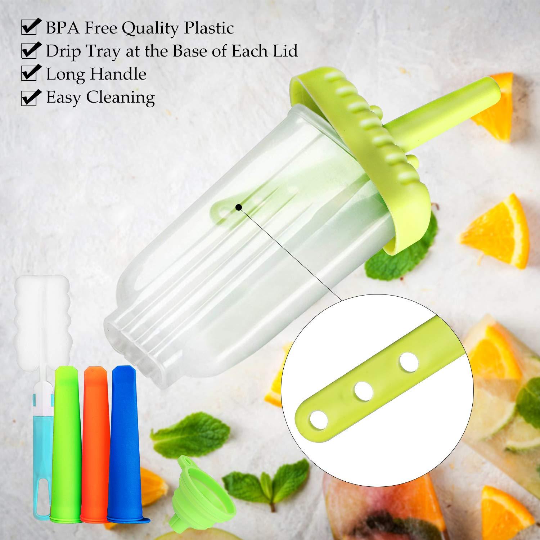 10Pcs Popsicle Moules BPA et approuv/é par la FDA Popsicle Moules R/éutilisable Ice Pop Mold Amusant pour Les Enfants et Les Adultes Joylink Moule /à Glace Vert