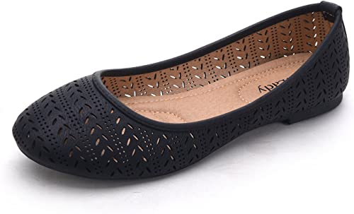 Ladys Slip-on Flats Shoes Black