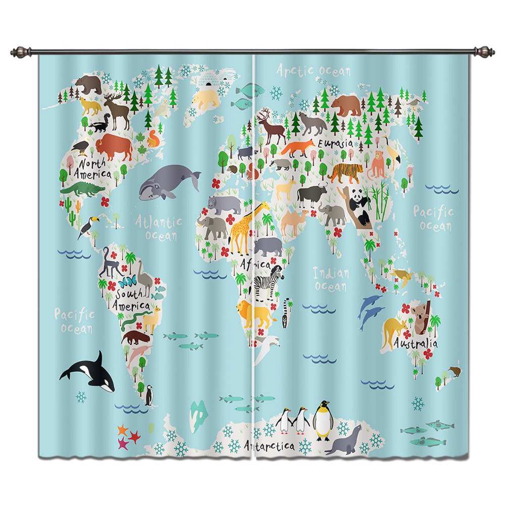 LB House Decor Fun Kids Window Curtains Drapes for Boys Bedroom, Colorful World Map of Wild Animals Elephant Tiger Deer, 55x65 Inches (2 Panels Size)