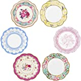 """Talking Tables Truly Scrumptious Vintage Floral Small 6.75 """" Paper Plates in 6 Designs for a Tea Party or Picnic, Multicolor (12 Pack)"""